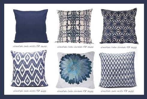 almofadas branco e azul