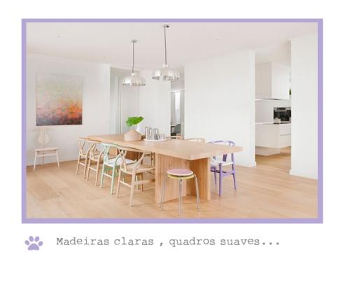 sala de jantar com cores claras