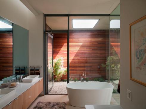 banheiro com jardim interno