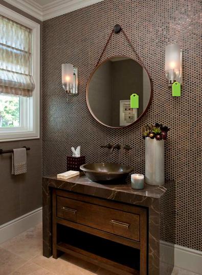 decoracao bancada lavabo : decoracao bancada lavabo:Aqui a bancada em mármore marrom imperial importado faz um desenho
