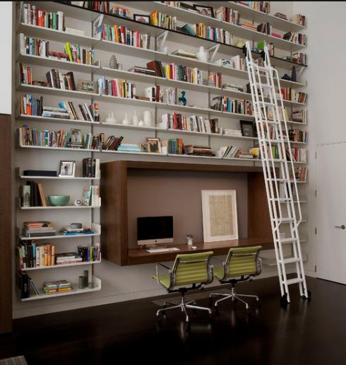 escritorio e estantes