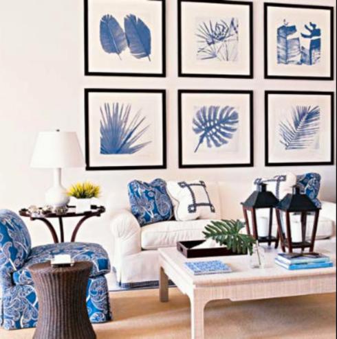 ambientes em azul e branco