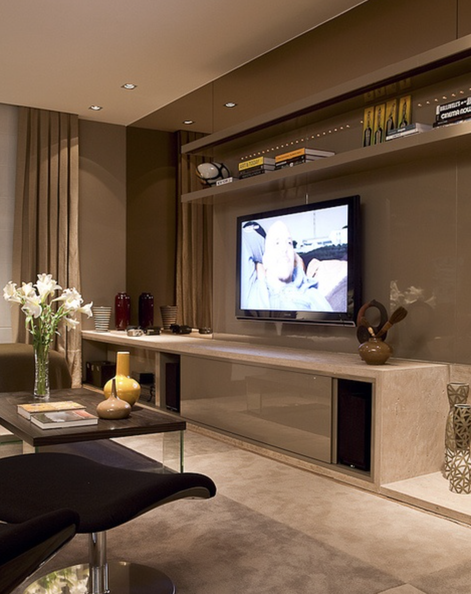 Salas De Estar Para Ver Television ~ Painel divisório, pode ser em madeira ou drywall
