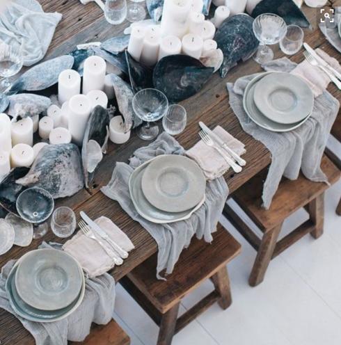 decoração de mesa de praia